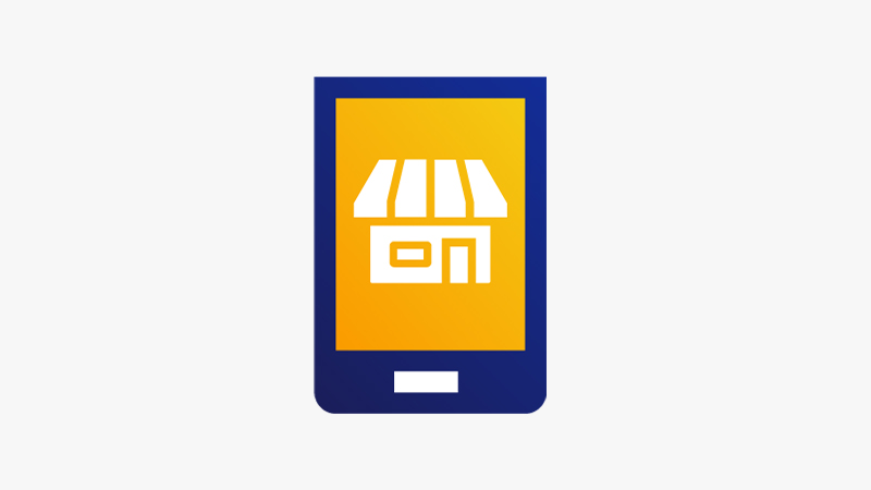 Illustration of a merchant storefront on a mobile phone.