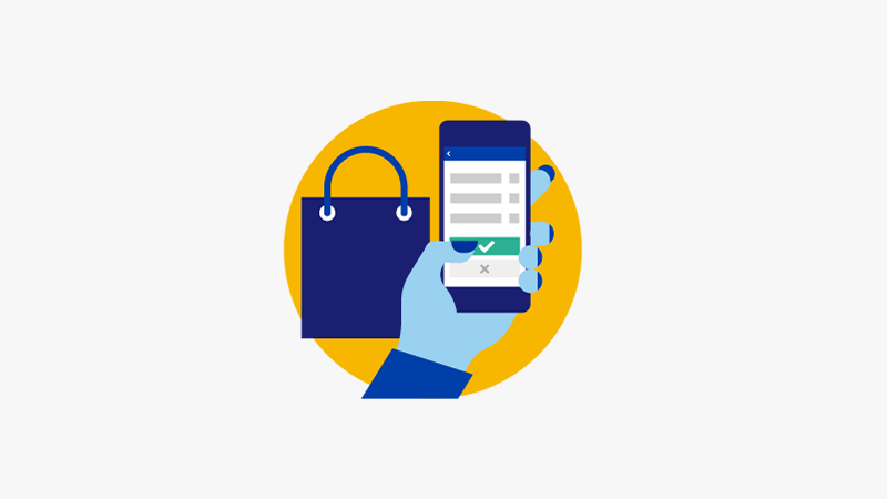 Illustration of a woman's hand holding a mobile phone shopping online.